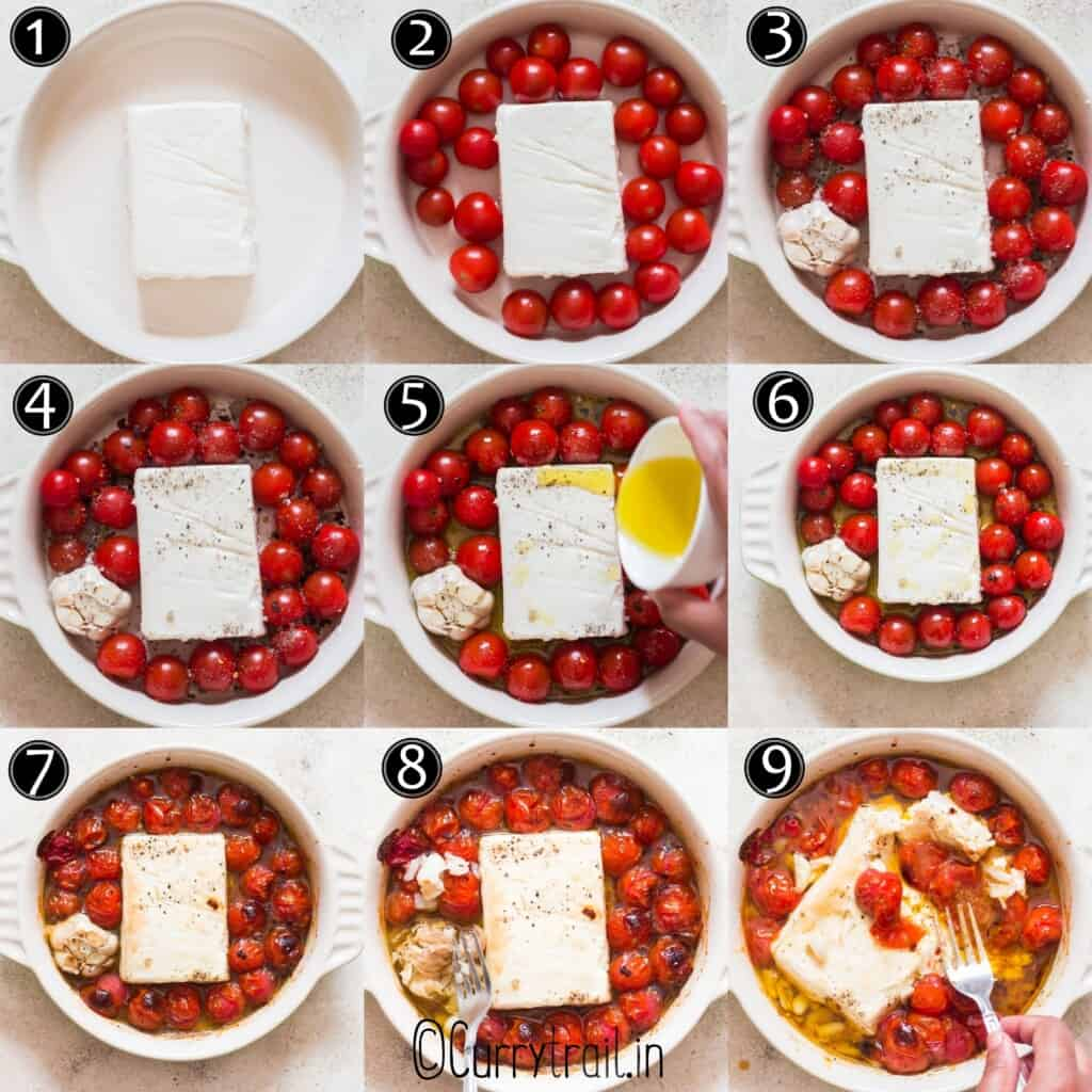 step by step picture collage of baked feta pasta