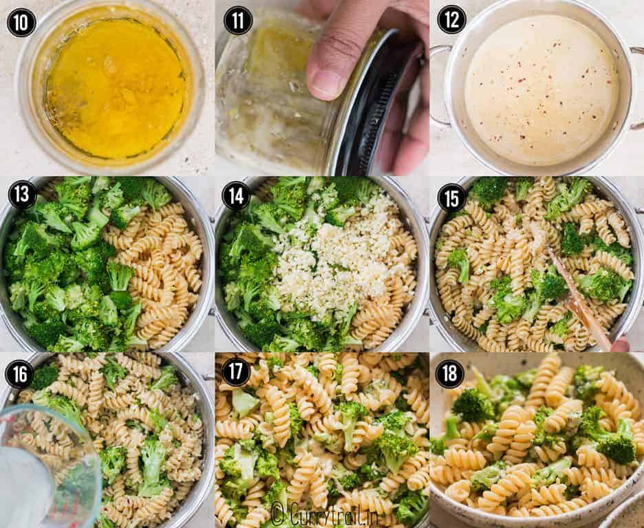 step by step picture collage on how to make broccoli pasta