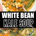 white bean soup with kale in bowl with crusty bread with tex