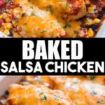 salsa chicken baked in casserole with text overlay