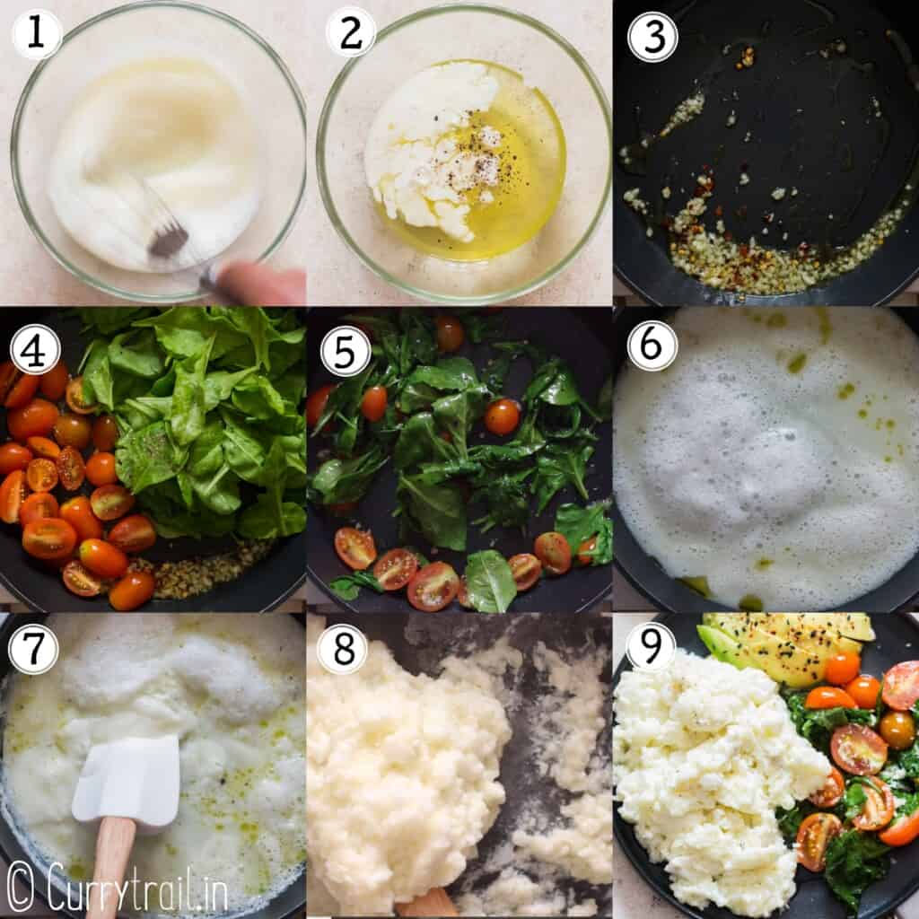 step by step instructions on how to make scrambled egg whites