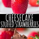 chocolate cheesecake stuffed strawberries with text overlay