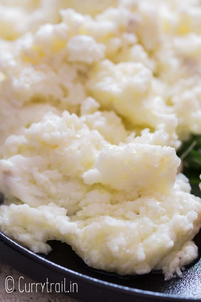 close up of scrambled egg whites