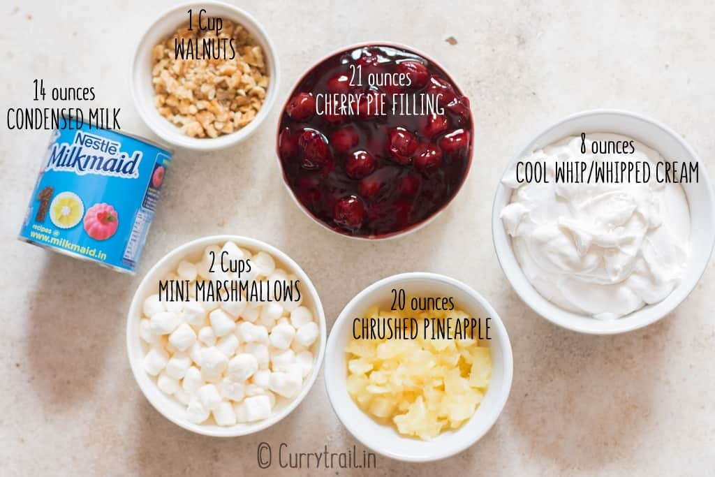 all ingredients for cherry fluff dessert salad