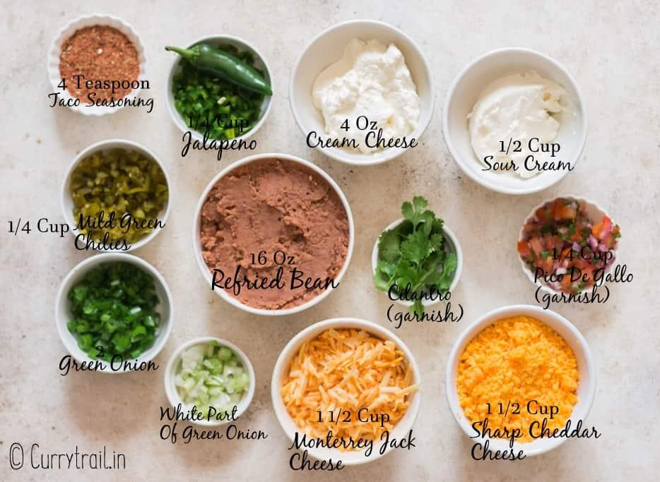 all ingredients for refried bean dip