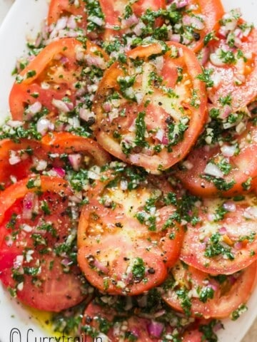 marinated tomato salad in plate