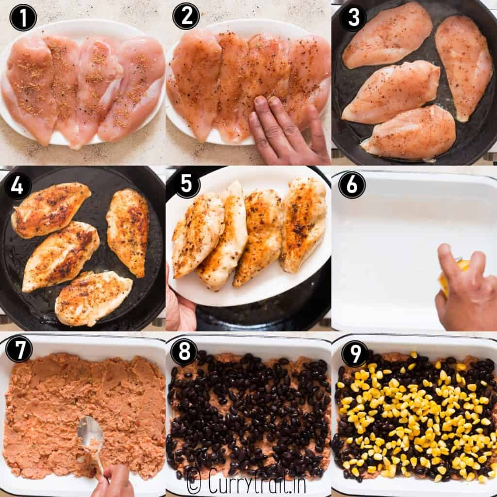 step by step picture collage of baked salsa chicken recipe