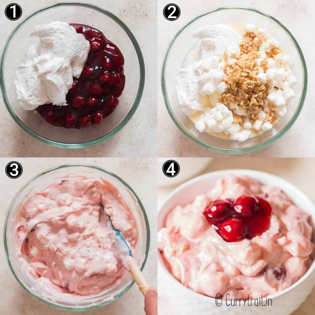 step by step picture collage of cherry fluff dessert salad
