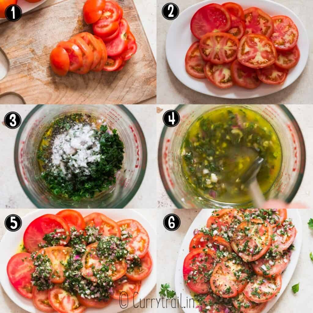 step by step picture collage of marinated tomatoes