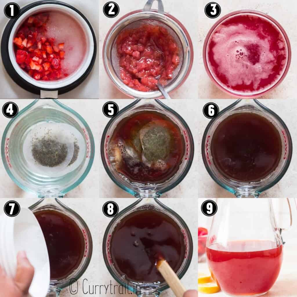 step by step picture collage of strawberry iced tea