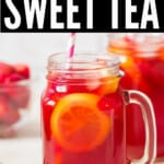 strawberry sweet tea served in mason jars with text