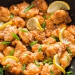 healthy Chinese lemon chicken cooked in wok