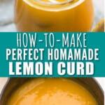 jar full of sweet lemon curd with text overlay