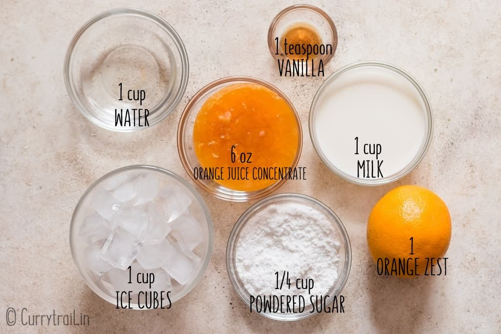 all ingredients for orange Julius recipe