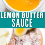 lemony buttery sauce in small bowl with text