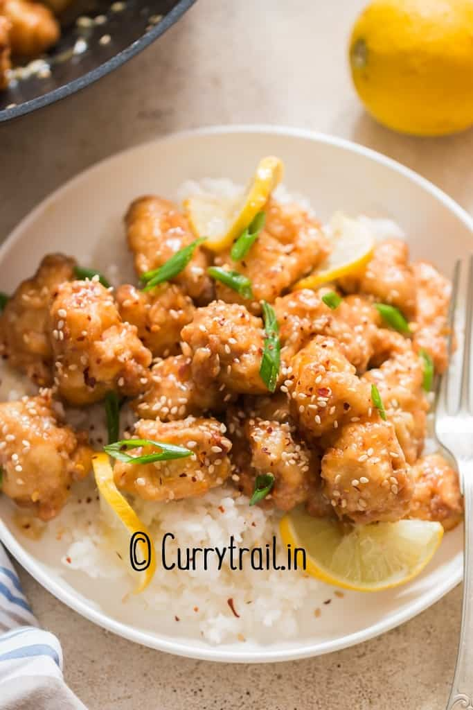 Chinese lemon chicken served with rice