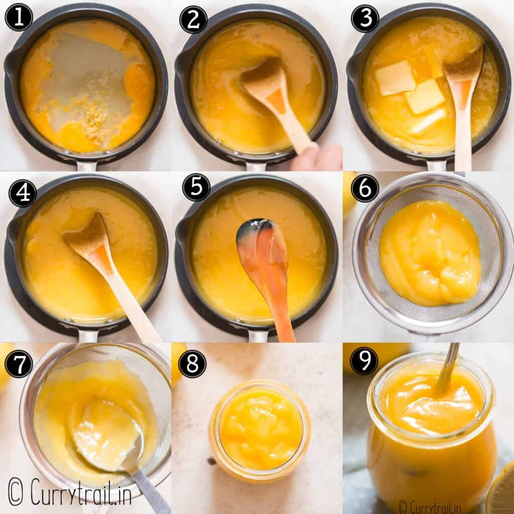 step by step picture collage of lemon curd
