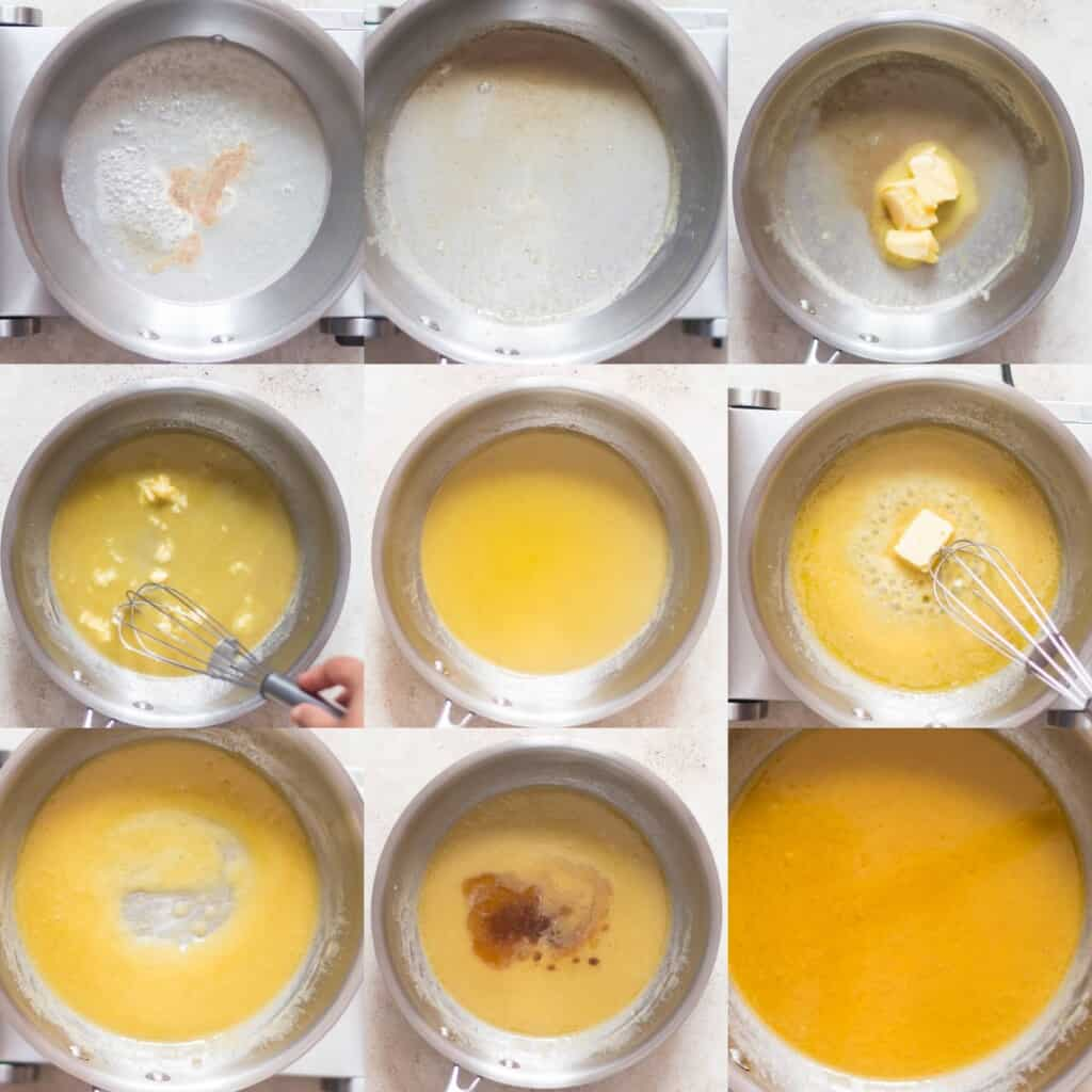 step by step pictorial collage of making lemon butter sauce