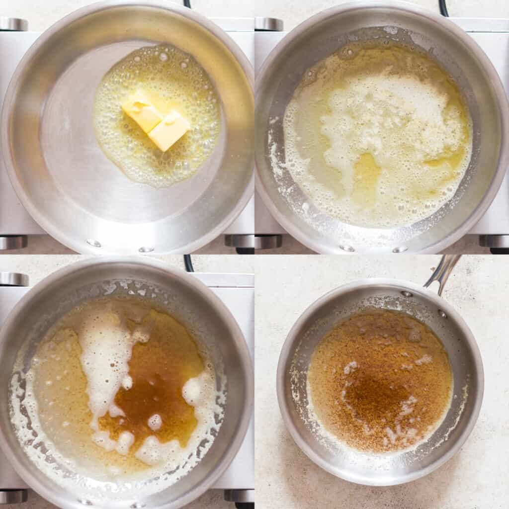 step by step pictorial collage of making brown butter