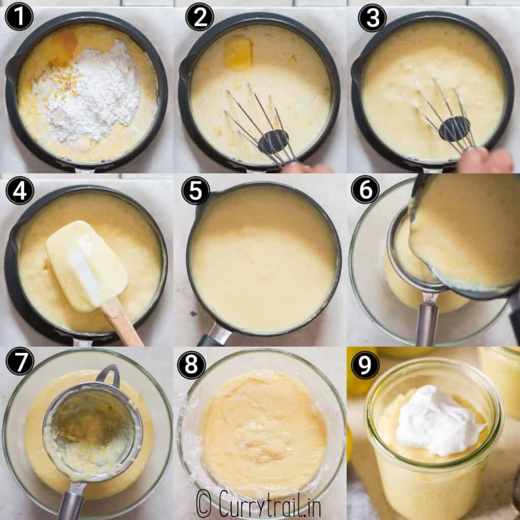 step by step picture collage of how to make lemon pudding