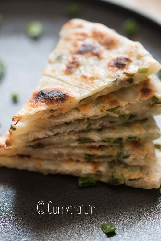 Chinese green onion pancakes stacked up