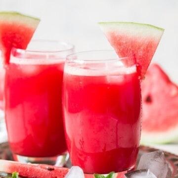 fresh watermelon juice in glass