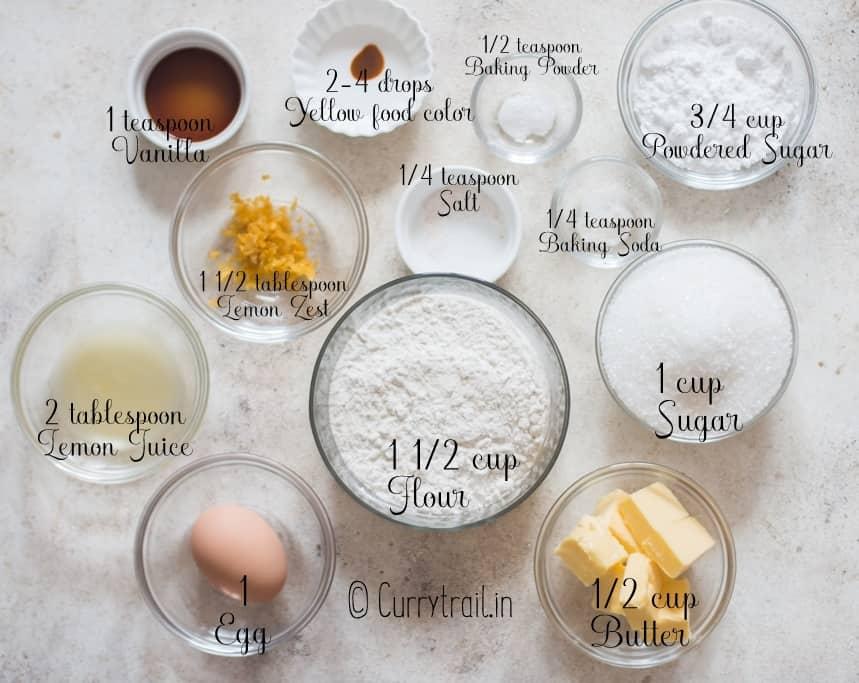all ingredients for lemon crinkle cookies