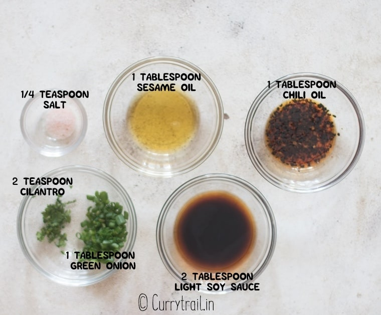 all ingredients for scallion pancake dipping sauce