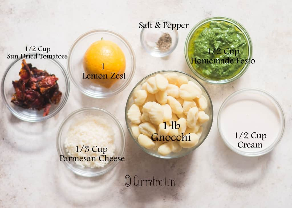 all ingredients for pesto gnocchi on board