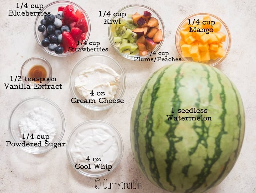 all ingredients for watermelon pizza arranged on white board