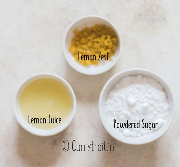 all ingredients for lemon brownies lemon glaze