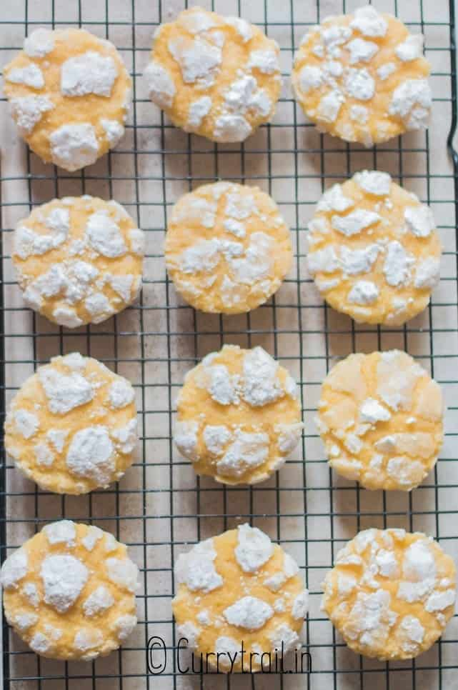 crinkled lemon cookies on wire rack