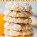 lemon crinkle cookies stacked with text