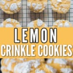 crinkled lemon cookies on wire rack with text