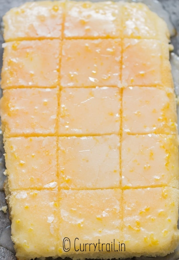 slices of lemon brownies on baking tray