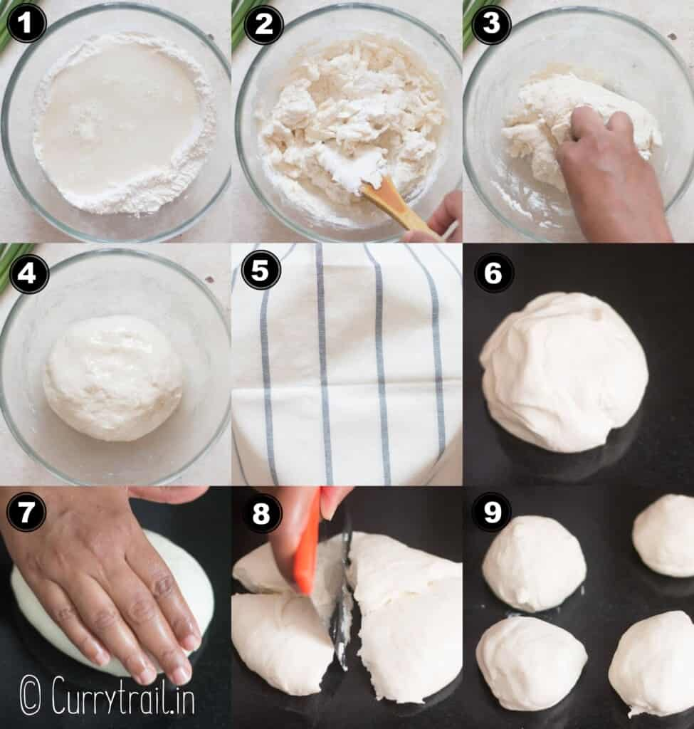 step by step pictorial collage for scallion pancakes