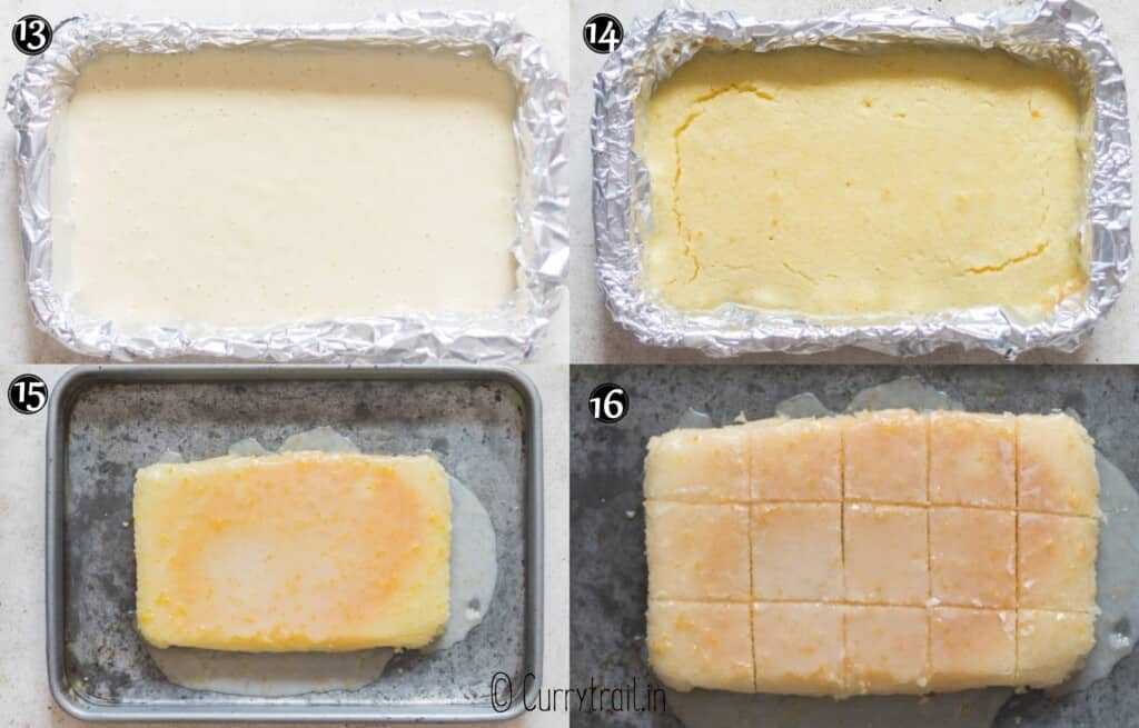 step by step picture collage of lemon brownies