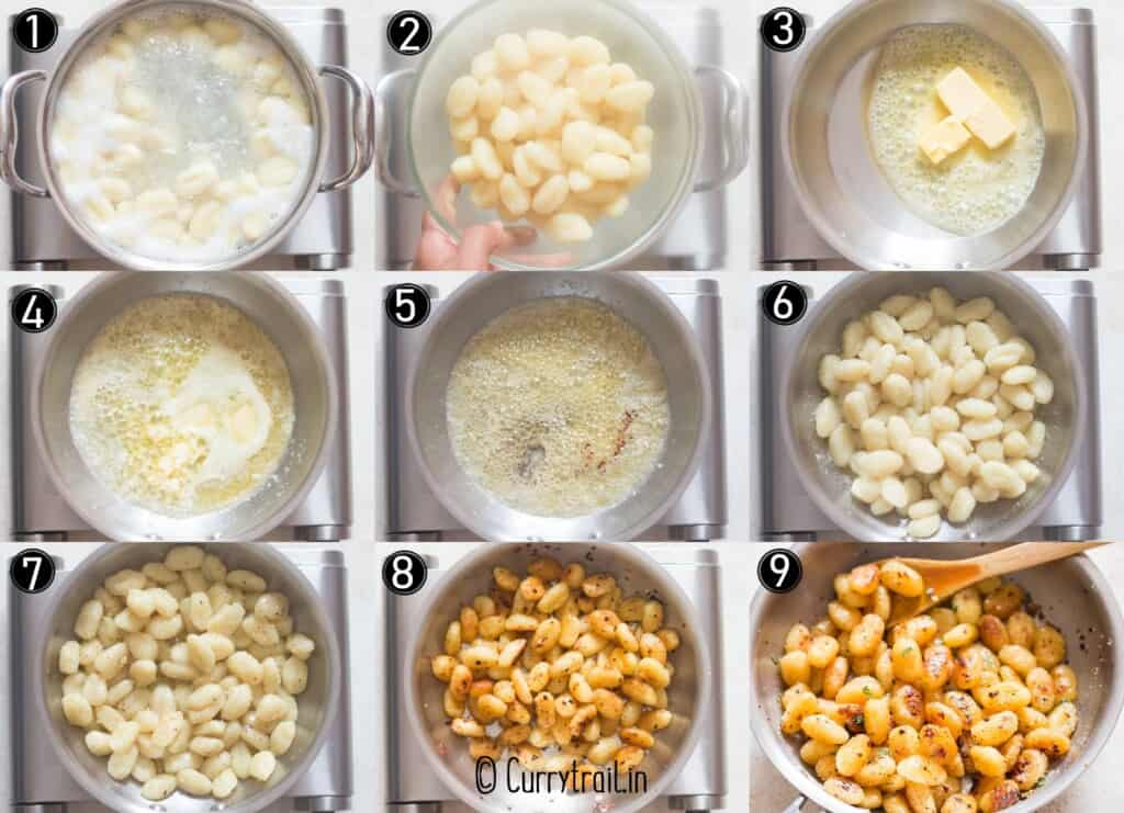 step by step picture collage of pan fried gnocchi