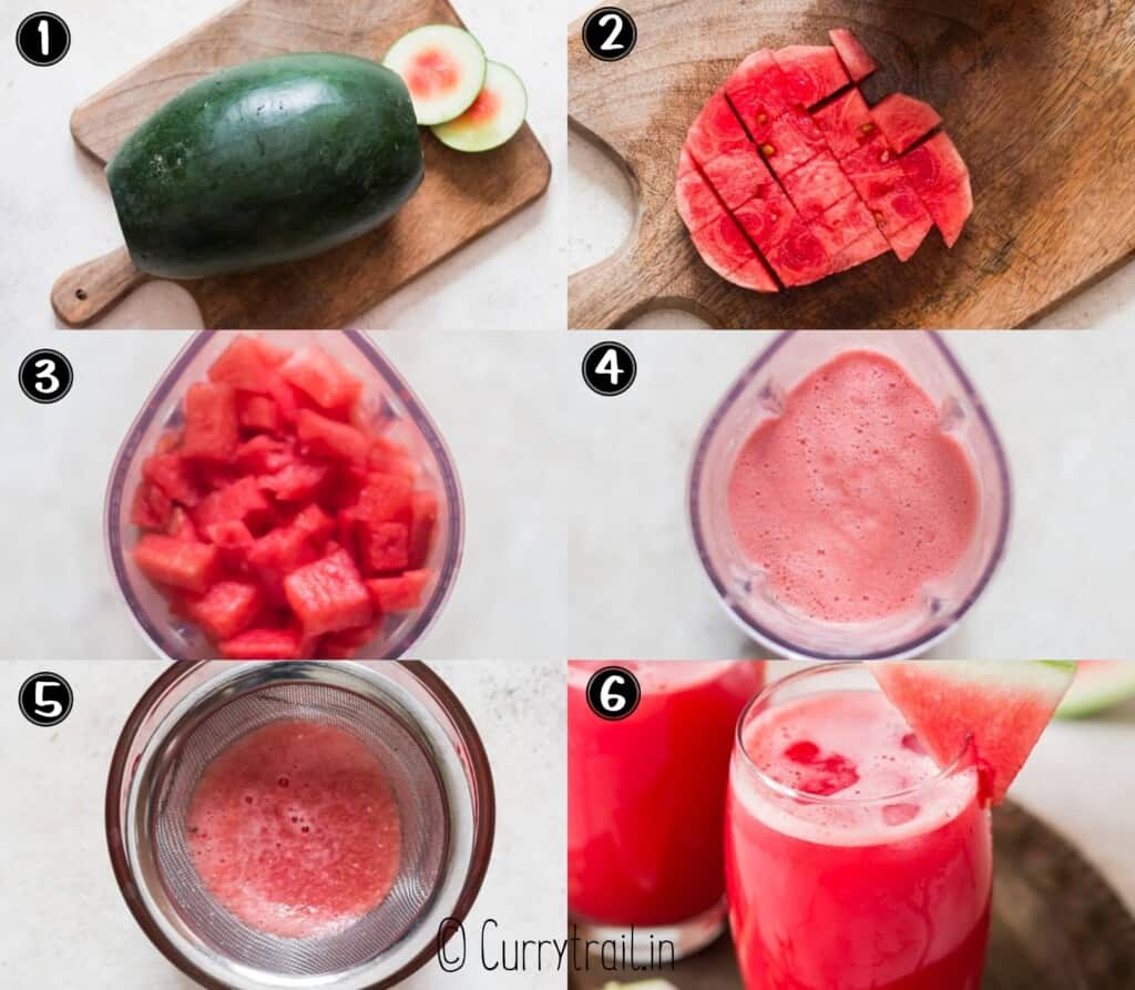 step by step picture collage of watermelon juice
