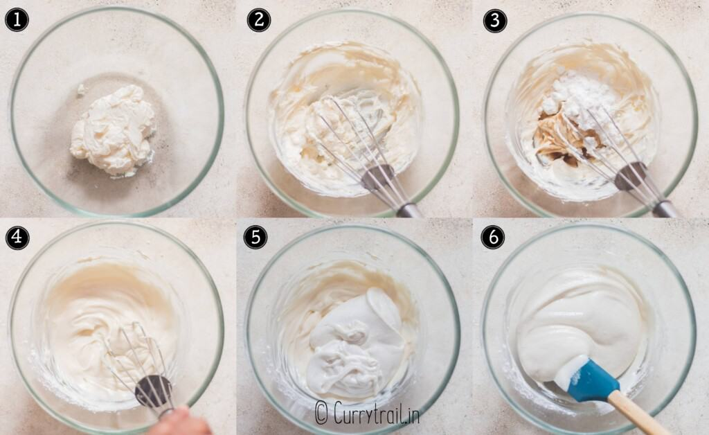 step by step picture collage of making cheesecake frosting for of watermelon dessert pizza