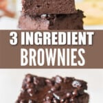 Nutella brownies stacked on top of each other with text