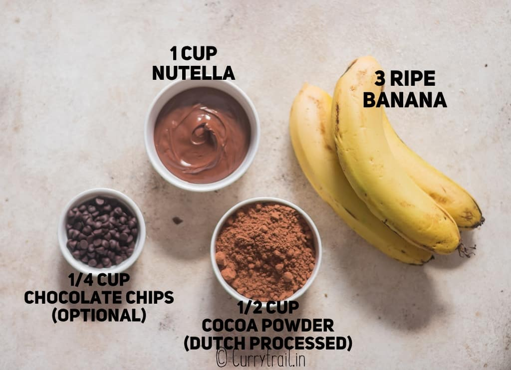 all ingredients for 3 ingredients Nutella brownies