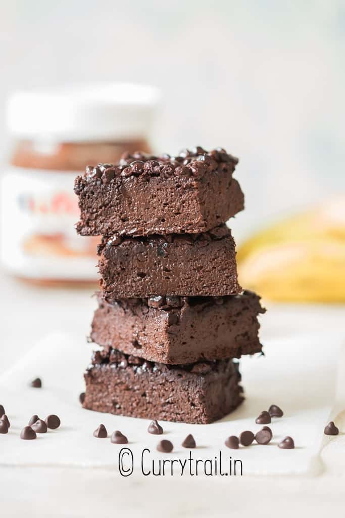 close up view of 3 ingredient brownies made of banana Nutella and cocoa powder