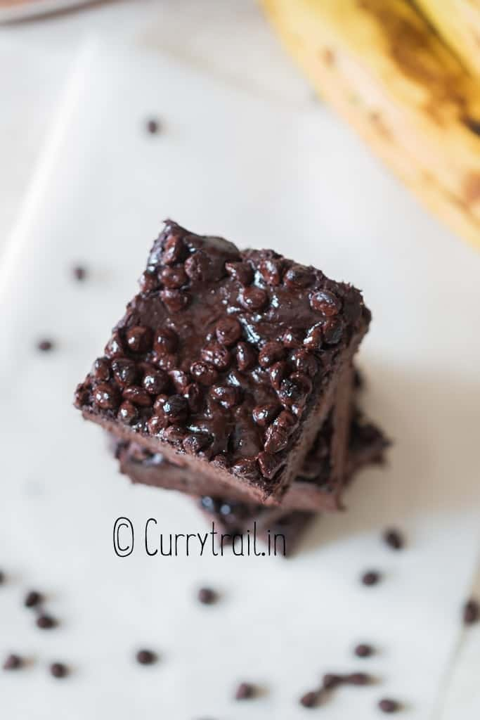 close up Nutella brownies with chocolate chips