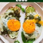 pesto eggs on avocado toast with text overlay