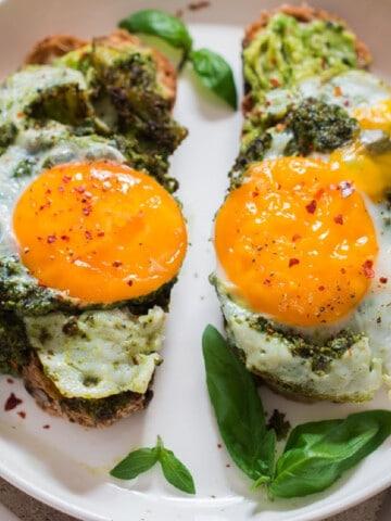 pesto eggs on avocado toast
