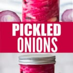 pickled onion in a jar with text