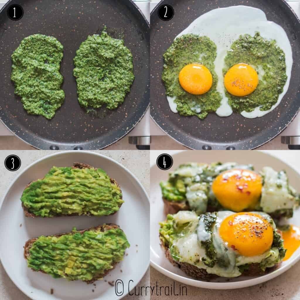 step by step picture collage of making pesto eggs