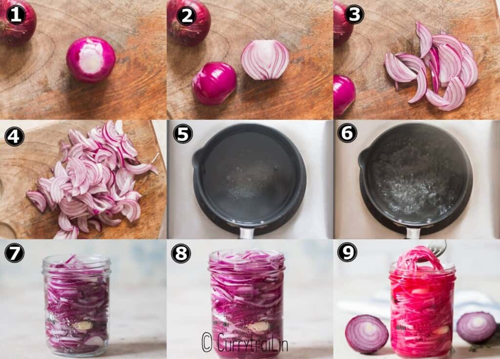 step by step picture collage of refrigerator pickled red onion