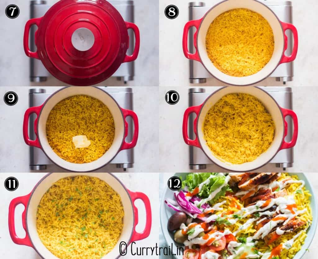 step by step picture collage on how to make yellow rice